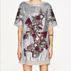 Zara Silver Sequin embroidered Shift Dress